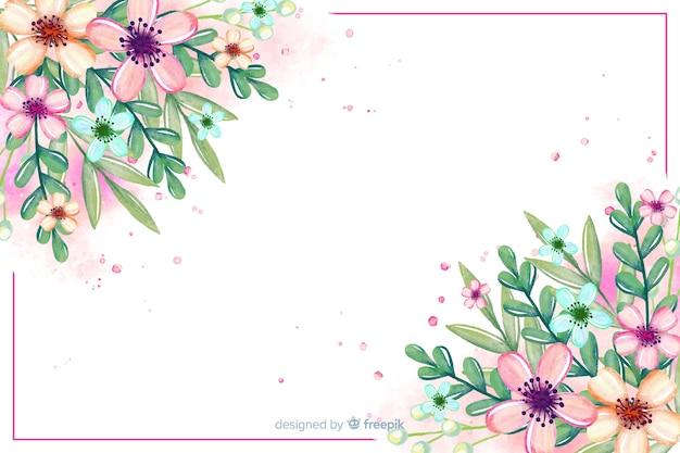 Fondo del fiore e delle foglie dell'acquerello