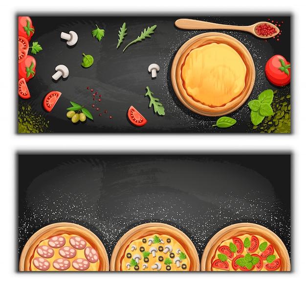 Fondo del fumetto della lavagna del menu della pizza con l'illustrazione degli ingredienti freschi fondo dell'aletta di filatoio della pizzeria. due bandiere orizzontali con testo di ingredienti su fondo in legno e lavagna.