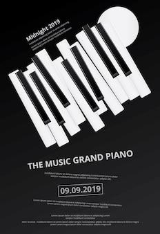 Fondo del manifesto del pianoforte a coda di musica