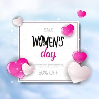 Fondo del manifesto di sconto dell'insegna di promozione di acquisto di festa di vendita di festa del giorno delle donne