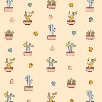 Fondo del modello circa l'illustrazione sveglia di vettore del cactus