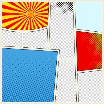 Fondo del modello del libro dei fumetti in diversi colori