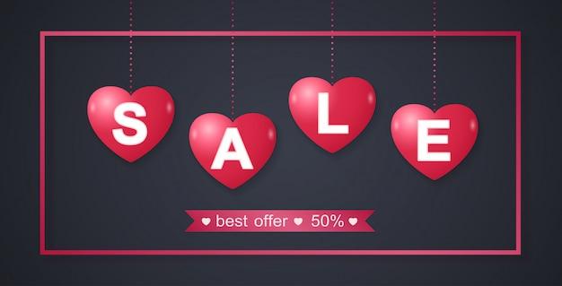 Fondo del modello dell'insegna di vendita di san valentino
