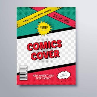 Fondo del modello di copertina della rivista del libro dei fumetti