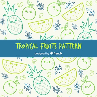 Fondo del modello di frutti tropicali