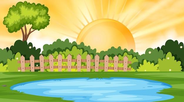 Fondo del paesaggio del parco al tramonto