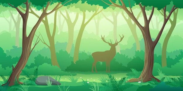 Fondo del paesaggio della foresta con la siluetta degli alberi e dei cervi nello stile
