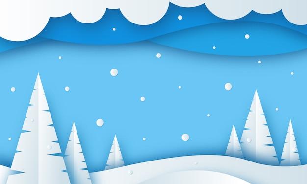 Fondo del paesaggio di stagione invernale con stile del taglio della carta