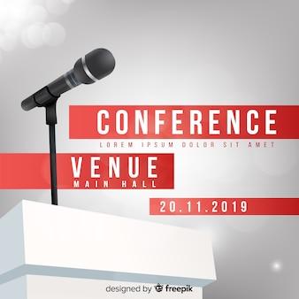 Fondo del podio della conferenza realistico