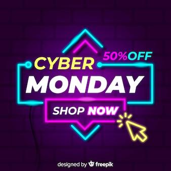 Fondo del segno al neon di cyber lunedì