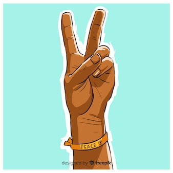Fondo del segno di pace della mano del braccialetto