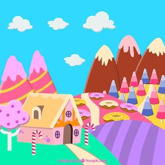 Fondo delizioso della terra della caramella nello stile piano