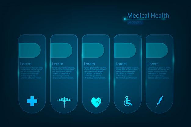 Fondo dell'icona di scienza medica astratta di assistenza sanitaria