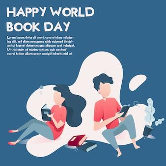 Fondo dell'illustrazione di giornata mondiale del libro