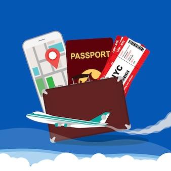 Fondo dell'illustrazione di vettore di concetto di viaggio