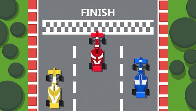 Fondo dell'illustrazione di vista superiore della macchina da corsa.