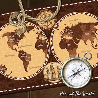 Fondo della bussola della mappa nautica d'epoca