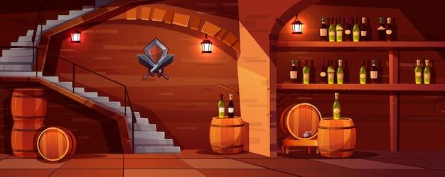 Fondo della cantina di vino di vettore, spazio accogliente con i barilotti di legno