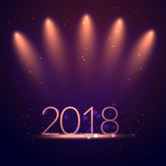 Fondo della cartolina d'auguri 2018 con le luci della festa dello studio