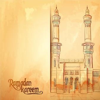 Fondo della cartolina d'auguri di ramadan kareem di schizzo della moschea dell'acquerello