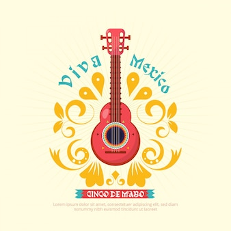 Fondo della chitarra di cinco de mayo con l'ornamento