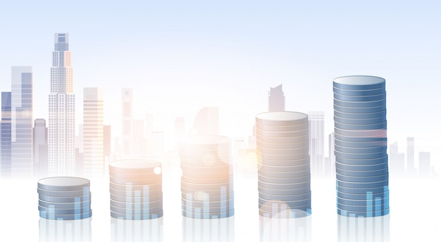 Fondo della città della siluetta di risparmio di finanza di insegna di affari di attività bancarie