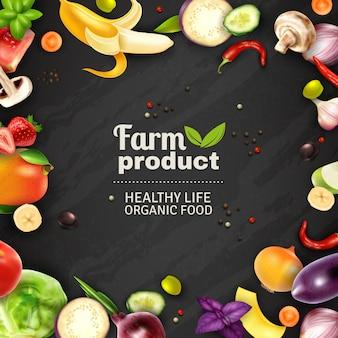Fondo della lavagna delle verdure e delle frutta
