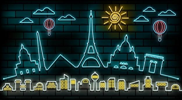 Fondo della luce al neon di viaggio e del viaggio di parigi e della francia