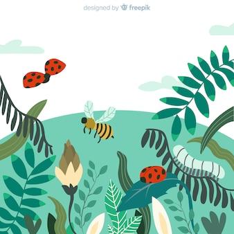 Fondo della molla del campo degli insetti
