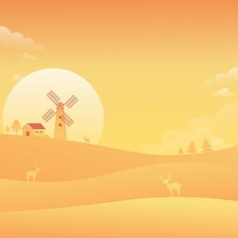 Fondo della natura del paesaggio del cielo di tramonto del mulino a vento