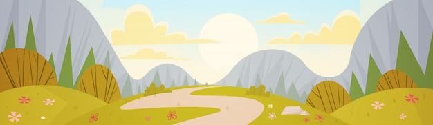 Fondo della natura della strada campestre del paesaggio della primavera della catena montuosa