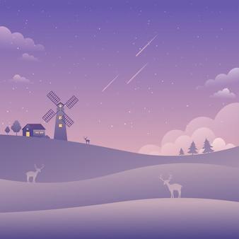 Fondo della natura delle stelle cadenti del paesaggio del cielo porpora del mulino a vento