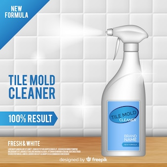 Fondo della pubblicità del pulitore della muffa delle mattonelle