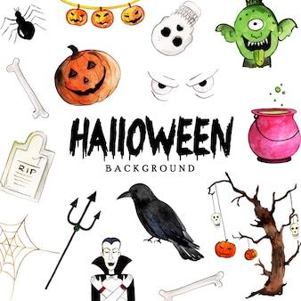 Fondo della raccolta degli elementi di halloween dell'acquerello