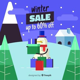 Fondo della scatola della tenuta del pupazzo di neve di vendita di inverno
