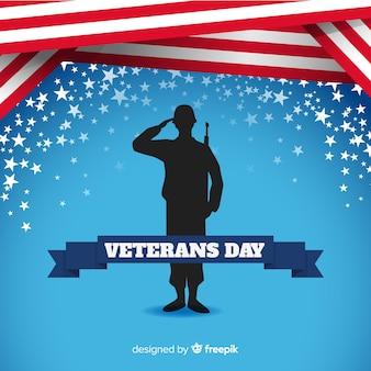 Fondo della siluetta del soldato di giornata dei veterani