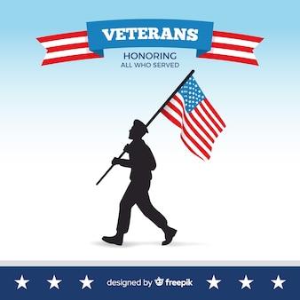 Fondo della siluetta dell'uomo di giorno dei veterani