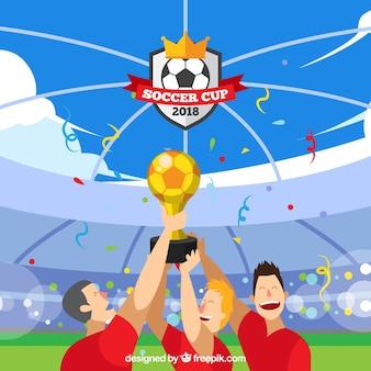 Fondo della tazza di calcio del mondo con i giocatori che tengono un trofeo