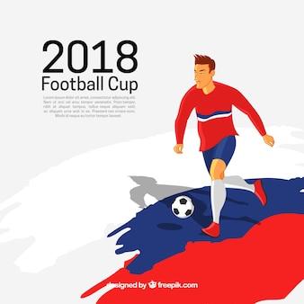 Fondo della tazza di calcio del mondo con il giocatore