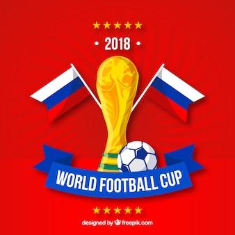 Fondo della tazza di calcio del mondo con il trofeo dorato