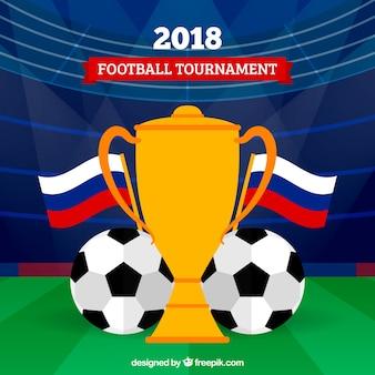 Fondo della tazza di calcio del mondo con il trofeo nel campo