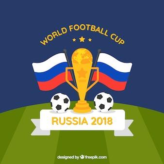 Fondo della tazza di calcio del mondo con il trofeo