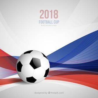 Fondo della tazza di calcio del mondo con la palla e le onde