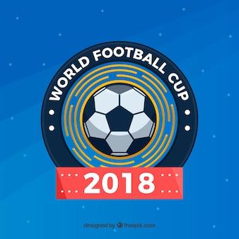 Fondo della tazza di calcio del mondo con la palla