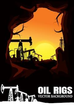 Fondo delle siluette di industria dell'impianto offshore