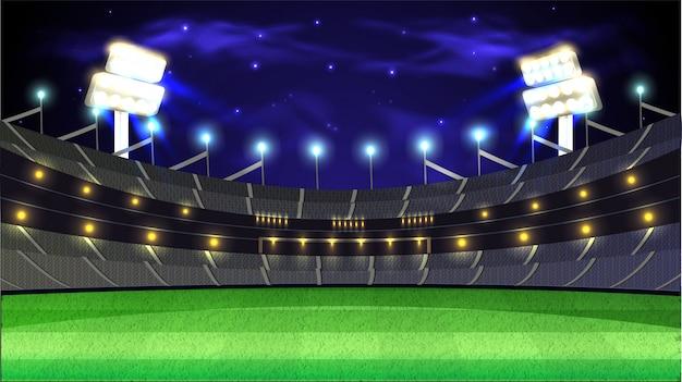 Fondo dello stadio di notte di torneo del cricket.