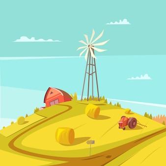 Fondo di agricoltura e di agricoltura con la casa del trattore del mulino a vento e l'illustrazione di vettore del mucchio di fieno