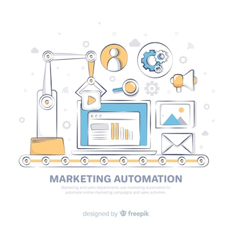 Fondo di automazione marketing disegnato a mano