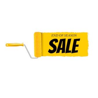 Fondo di bianco del rullo di pittura e del pennello di giallo della bandiera di vendita