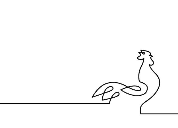 Fondo di bianco dell'illustrazione di vettore del gallo della linea continua